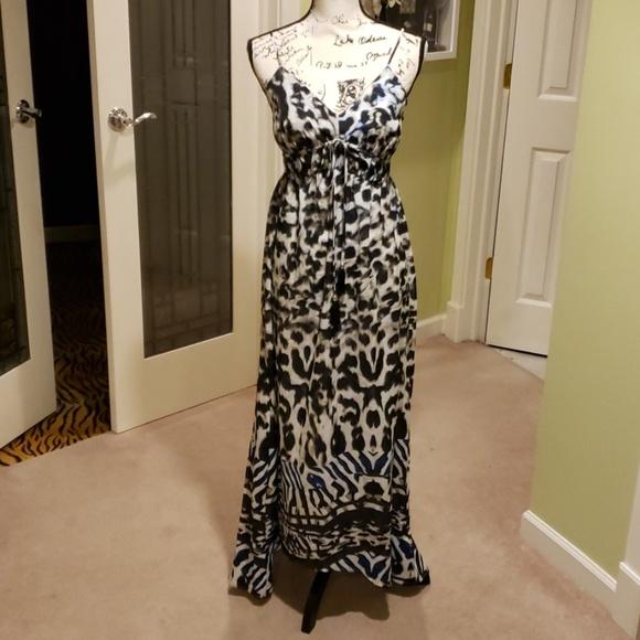 3cb32bc1f18 NWT white black blue animal print silk maxi dress